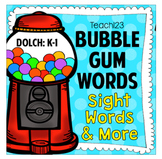 Bubble Gum Sight Words, Center,  and Brag Tags