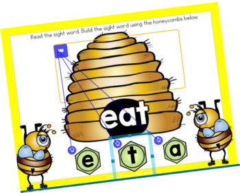 Sight Words Build a Word with Honeybees - Drag and Drop Boom Cards Digital