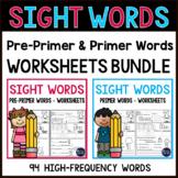 Sight Words Worksheets - Sight Words Kindergarten Worksheets Bundle