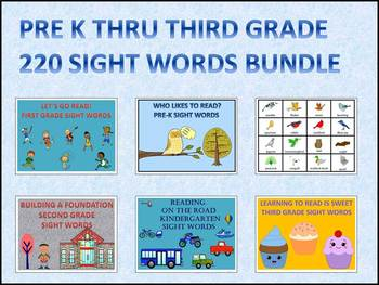 Sight Words Bundle: Pre-K Thru Third Grade (Flash Cards)