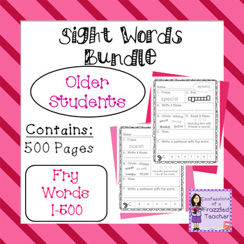 Sight Words Bundle - Fry Words: 1-500 - Older Student Version