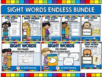 Sight Words Endless Bundle Pre-Primer Level