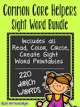 Sight Words Bundle - Read Color Circle Create Printables {ALL 220 Dolch Words}