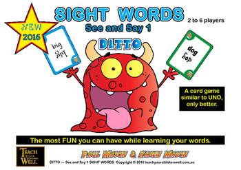 Sight Words Card Game - See and Say 1 DITTO