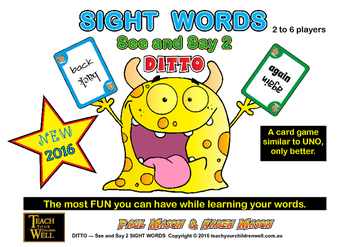Sight Words Card Game - See and Say 2 DITTO