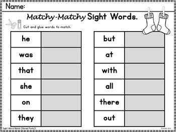 Sight Words Center: Primer List