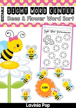 Sight Words Center: Spring Bees and Flowers Word Sort {EDITABLE PDF}