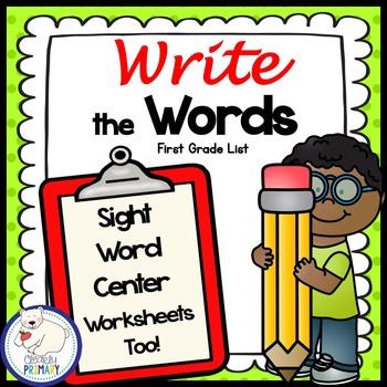 Sight Words Center: Write the Room First Grade List