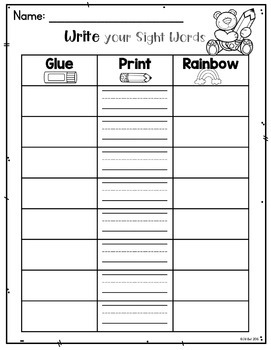 Sight Words Write the Room: Pre-Primer List