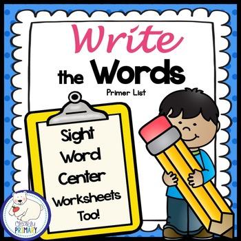 Sight Words Center: Write the Room Primer List