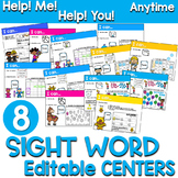 Sight Words Centers EDITABLE!  ANYTIME