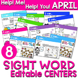 Sight Words Centers EDITABLE! APRIL