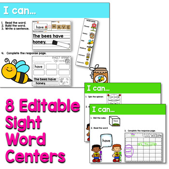 Sight Words Centers EDITABLE! APRIL