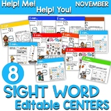 Sight Words Centers EDITABLE! NOVEMBER