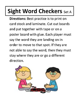 Sight Words Checkers Set A
