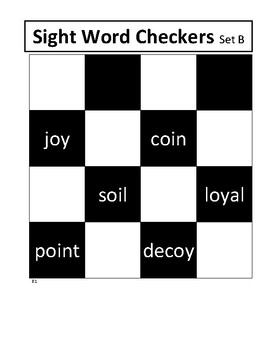 Sight Words Checkers Set B (oi, oy)