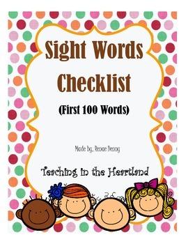 Sight Words Checklist
