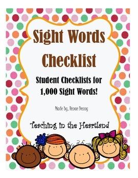 Sight Words Checklist Bundle-1,000 words!