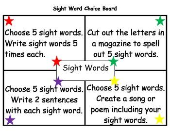 Sight Words Choice Board