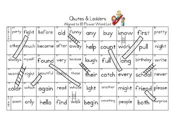 Sight Words Chutes & Ladders aligned to 1B