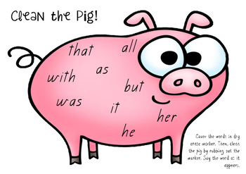 Sight Words - Clean the Pig!