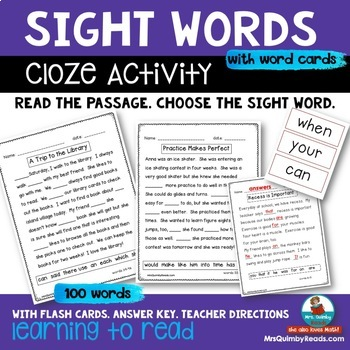 Sight Words - Cloze Activities - Reading and Writing Activity
