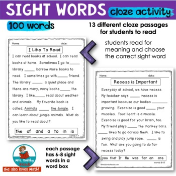 Sight Words | Cloze Activities | Reading for Meaning