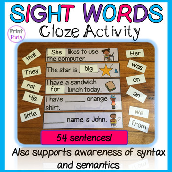 Sight Words Cloze Activity | Syntax and Semantics | Does that make sense?