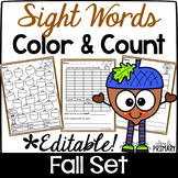 Sight Words Color & Count Fall Set: Editable