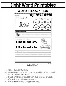 Sight Word Read, Trace and Write Practice Bundle by Judy ...  |Trace And Write Sight Words