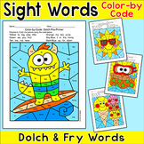 Summer Color by Sight Words Hidden Pictures - Morning Work End of Year Activity