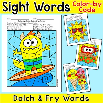 Color by Sight Words Activities - Summer Surfer Monster, I
