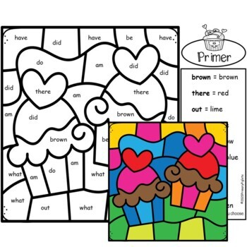 Sight Words - Color by Sight Words Valentines Day Kindergarten Worksheets