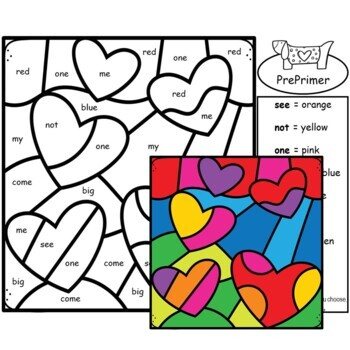 Sight Words - Color by Sight Words Valentines Day - Prekindergarten