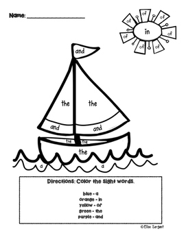 Sight Words Coloring English and Spanish