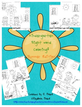 Sight Words Coloring Kindergarten: Summer Themed