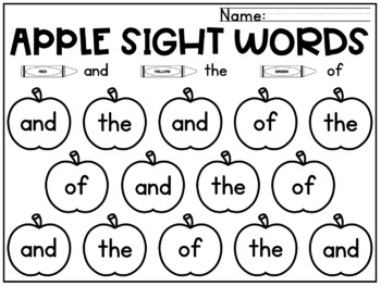 Apples Sight Words Coloring Sheets Fall Kindergarten 99 Words Tpt