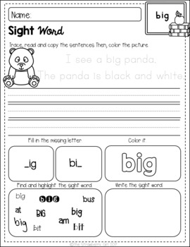 Sight Words Coloring and Handwriting Practice (Pre-Primer Edition)