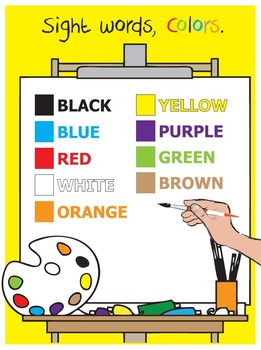 Sight Words, Colors, Elementary, SPED, worksheets, flashcards, poster
