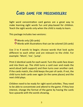 Sight Words Comprehension Card Game for Preschoolers