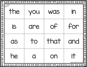 Sight Words Game: Four in a Row! (Fry Words 1-100)