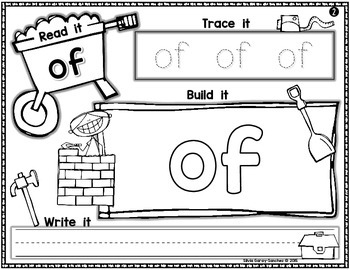 Fry's First 100 Sight Words Constructing Mats