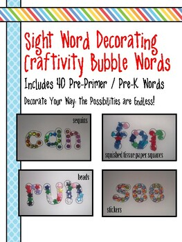 Sight Words Craftivity - Word Outlines - (Pre-Primer, Pre-K Words)
