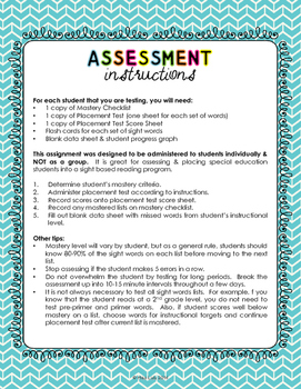 Sight Words Curriculum Based Assessment for Special Education