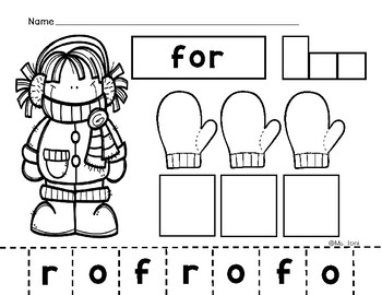 Sight Words - Cut, Paste & Write, Kindergarten Literacy First 50 Words, Winter