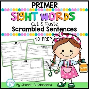Sight Words Cut & Paste Sentences Worksheets {Primer}
