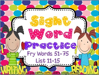 Sight Words Cut, Paste, Write, Highlight and Find {Fry List 11-15}