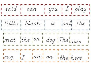 Sight Words Cut Up Sentence Scrambled Sentences