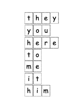 Sight Words-Cut and Paste Activity Set