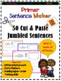 Sight Words Cut and Paste Jumbled Sentences: Primer Sentence Building